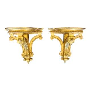Pair of Antique Louis XVI Style Gilt-Wood Corbel Bracket Sconces For Sale