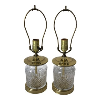 "Pair Traditional Crystal Table Lamps 17"" Tall For Sale"