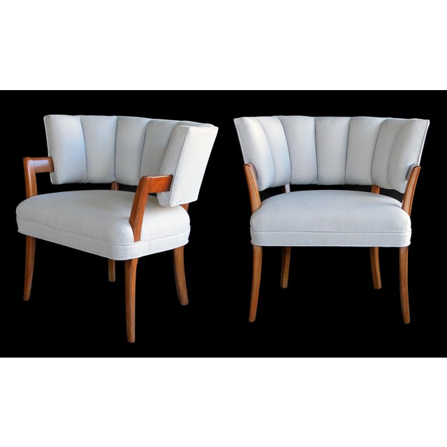 Textile A Rare And Iconic Pair Of American Art Deco Arm Chairs By Eugene Schoen