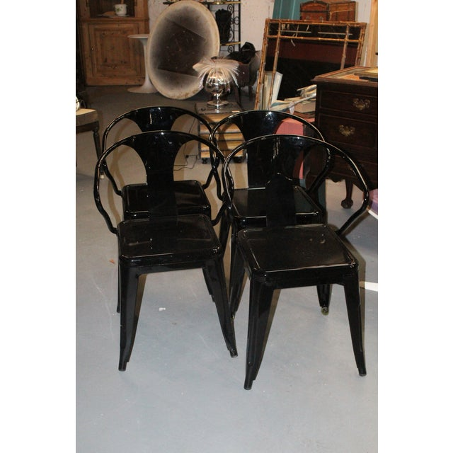 Late 20th Century Late 20th Century Black Chairs- Set of 4 For Sale - Image 5 of 5