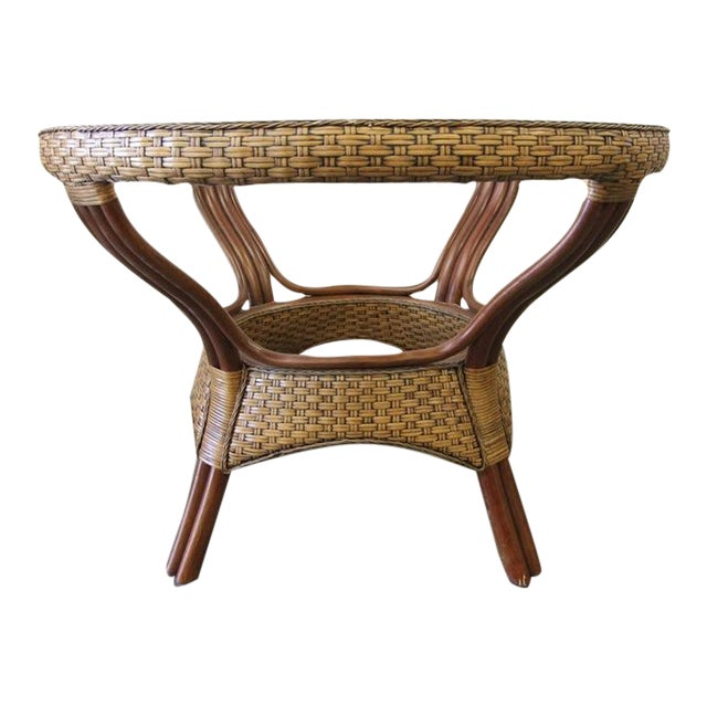 Wicker & Glass Top Dining Table - Image 1 of 8