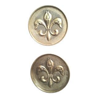 Mid Century Solid Brass Fleur De Lis Wall Decor Plates - a Pair For Sale
