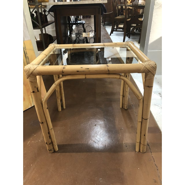 Glass Top Bamboo Side Tables - a Pair For Sale - Image 10 of 13