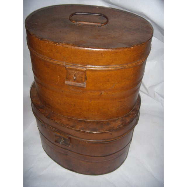 Metal Vintage Tin English Hat Boxes - 2 For Sale - Image 7 of 7