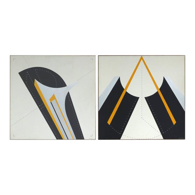 Italian 1970s Metaphysical Oils by Sauro Lessio - A Pair For Sale