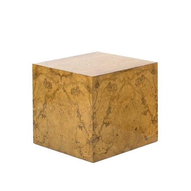 Mid-Century Modern Pair Milo Baughman Burl Wood Cube Side Tables For Sale - Image 3 of 5