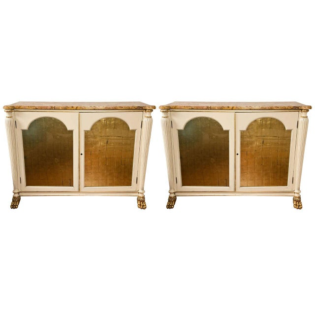 Regency Style Marble Top Cabinets - A Pair - Image 1 of 9