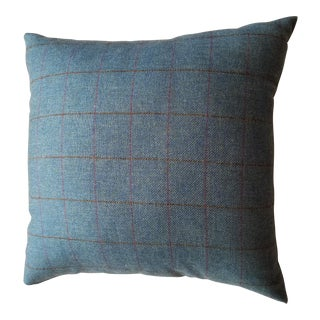 Light Blue Plaid Pillow For Sale