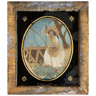19th Century English Silk Embroidery of Woman Fishing For Sale