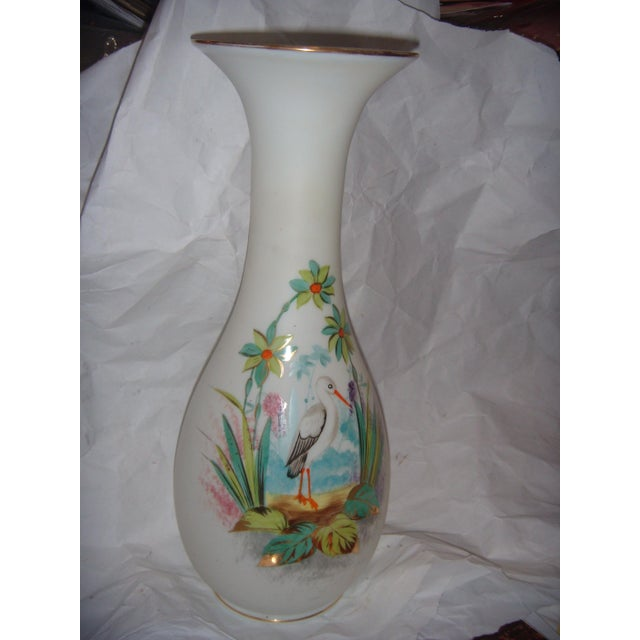 Bristol Glass Vase with Bird & Flowers - Image 2 of 5