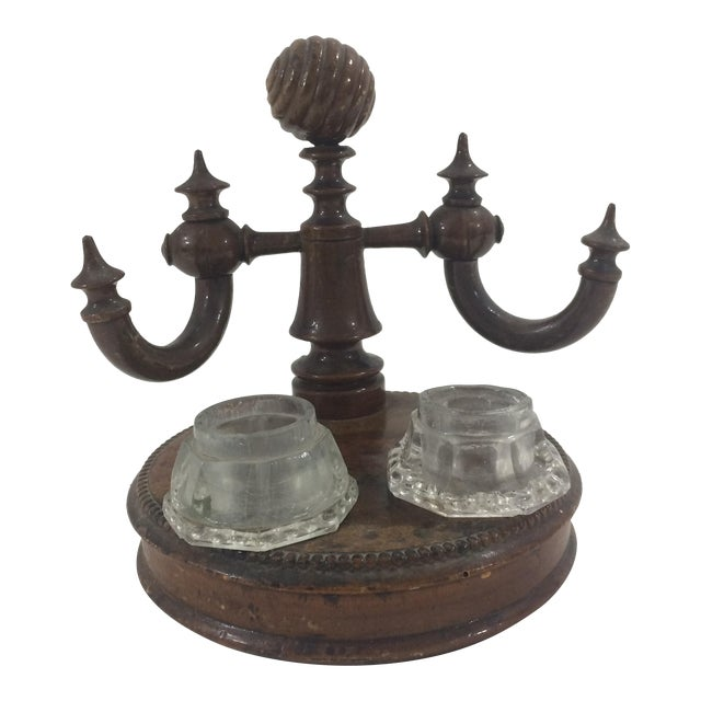 Napoleon III Burled Walnut Ink Well and Stand For Sale