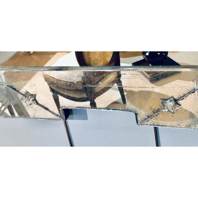 Art Deco Style Venetian Wall Console Mirror Distressed Frame Border Clear Center For Sale - Image 12 of 13