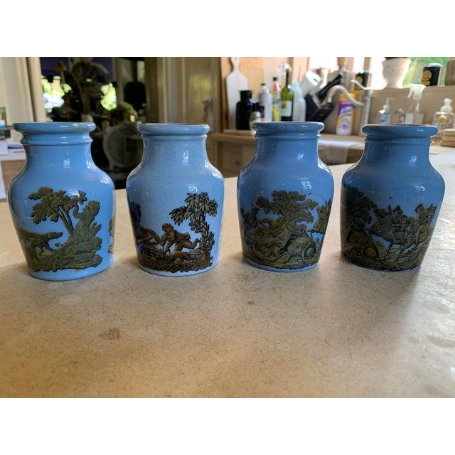1880 Blue Pratt Ware Meat Jars - Set of 4 For Sale - Image 13 of 13