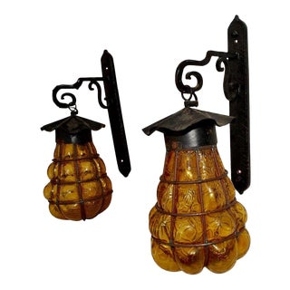 1940s French Outdoor/Indoor Iron Sconces With Murano Glass - a Pair For Sale