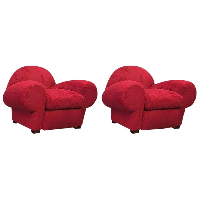 Jean Royère for Maison Gouffé Mammoth Pair of Big Red Club Chairs For Sale