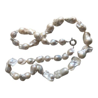 Long Strand of Baroque Pearls For Sale