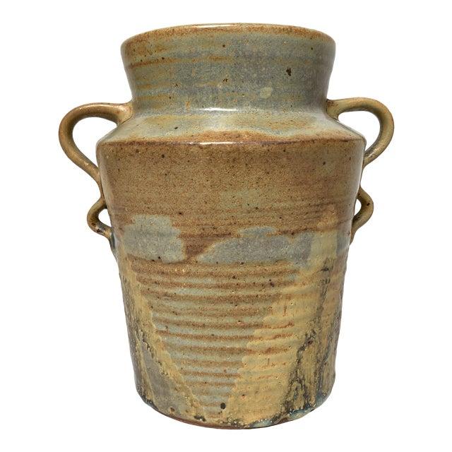 1970s Vintage Two-Handled Studio Pottery Vase For Sale