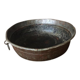 Italian Antique Hand Hammered Copper Pot For Sale