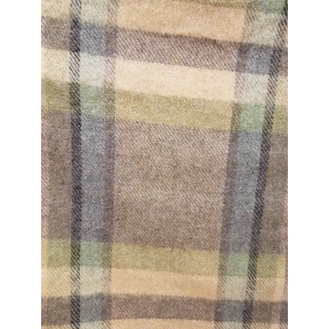 Merino Wool Throw Soft Light Beige Green Blue Purple Plaid - Made in England For Sale In Dallas - Image 6 of 9