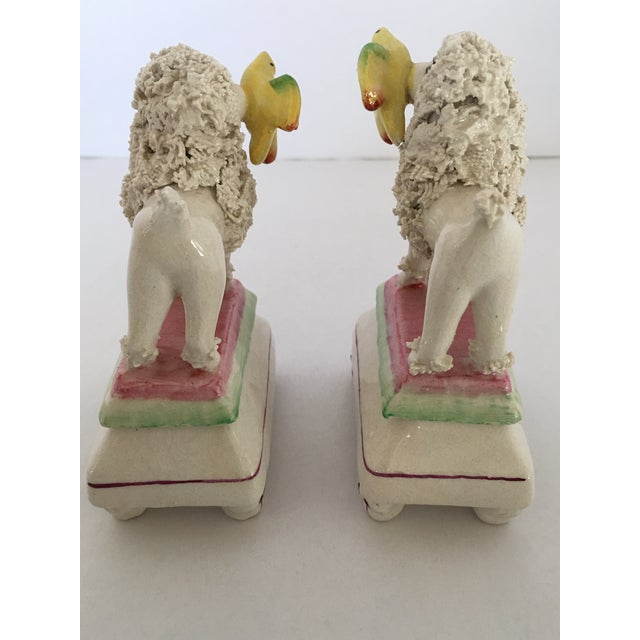 White Antique Staffordshire Poodle Dog Figurines - A Pair For Sale - Image 8 of 11