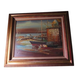 1950's Original San Francisco Boat Dock Oil Painting