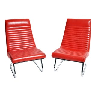 "1970s ""Tulip Red"" Lounge Chairs - a Pair For Sale"