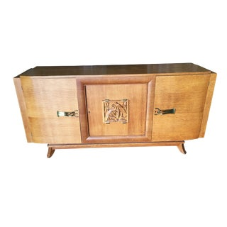 James Mont Style Sideboard W/ Carved Art Sculpture For Sale