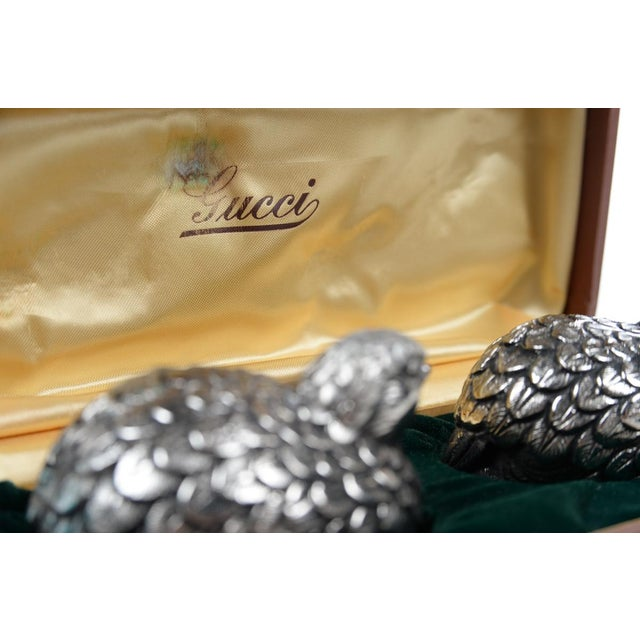 Gucci Pewter Quail Vintage salt & pepper shakers with original box. Plastic stoppers on bottoms. Made in Italy in the...