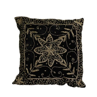 Black Square Shape Beads Thread Pattern Fabric Couch Sofa Cushion For Sale