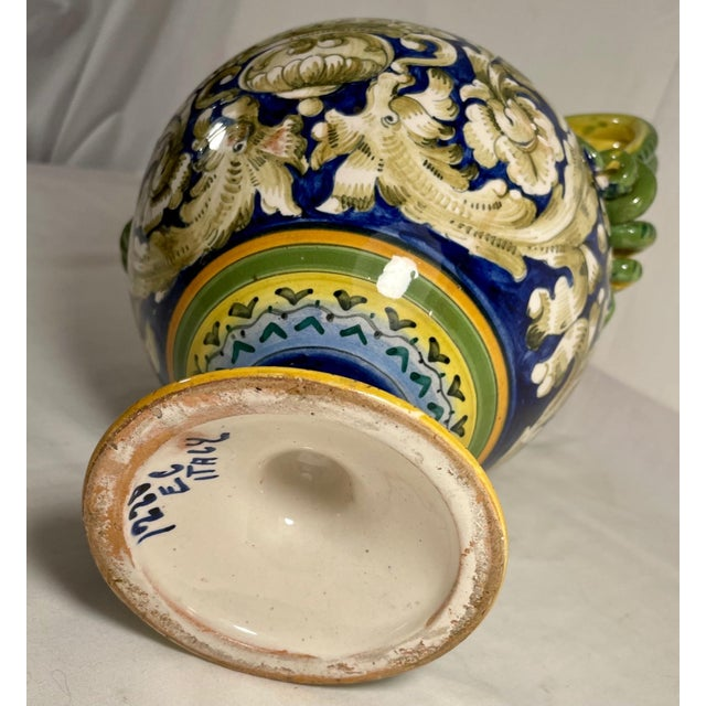Vintage Italian Majolica Two-Handled Urn For Sale - Image 11 of 12