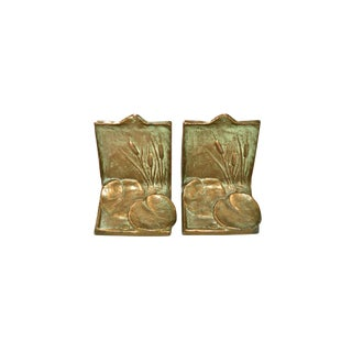 1930 Cattails and Lily Pads Bookends - a Pair
