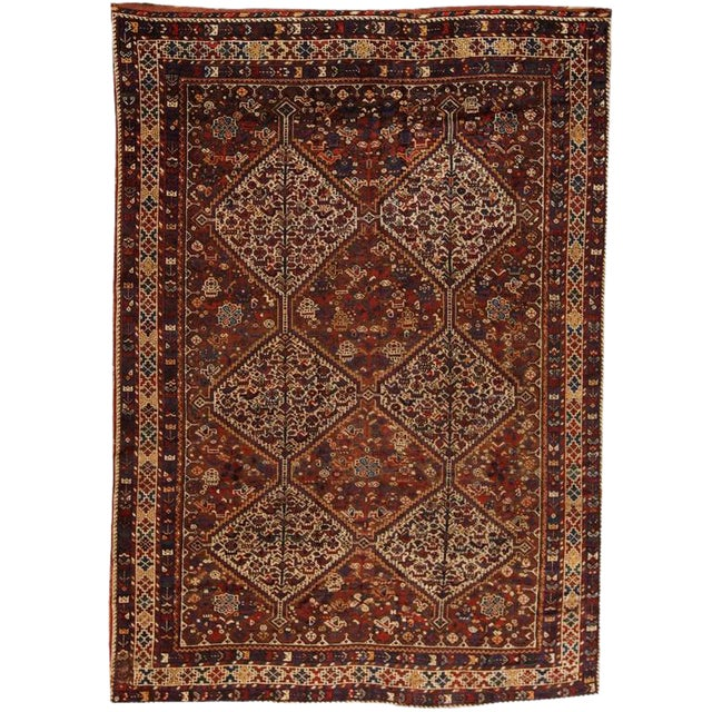 Antique 19th Century, Persian Qashqai Carpet For Sale