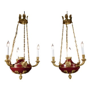 Antique French Empire Flame Eagle Chandeliers