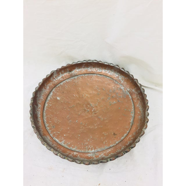 Antique Turkish Pounded Copper Platter For Sale - Image 4 of 8