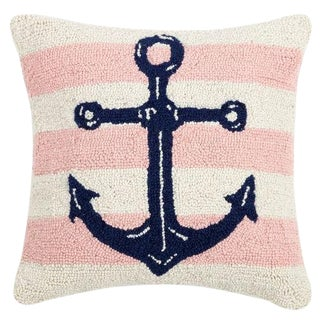 Pink Stripe Anchor Hook Pillow For Sale