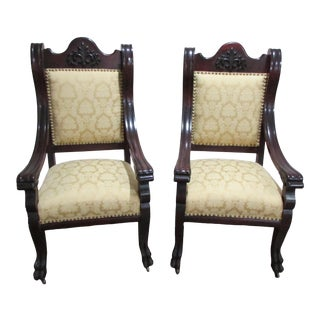 19th Century Antique Eagle Head Arm Claw Feet Gentleman's Parlor Chair (Sold Separately)) For Sale