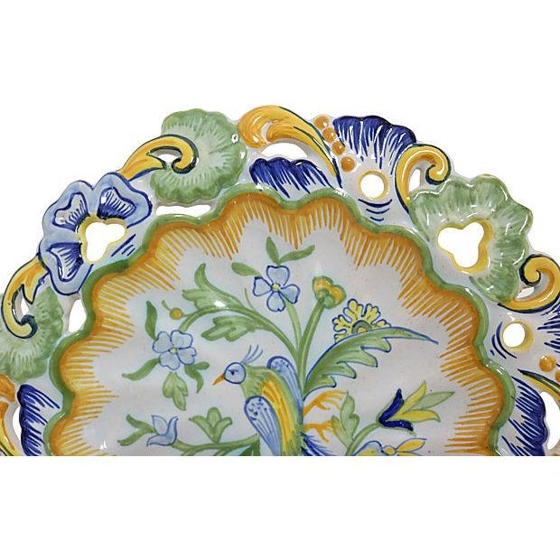 Antique Hand-Painted French Faience Wall Plate - Image 2 of 3