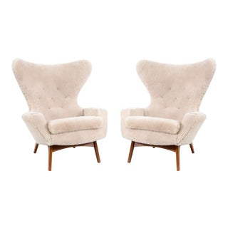 Set of Adrian Pearsall Wingback Chairs Freshly Reupholstered in Shearling For Sale