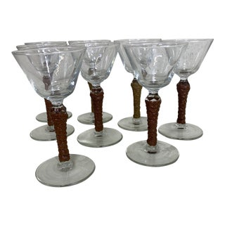 Braided Leather Wrapped Cordial Martini Glasses - Set of 8 For Sale