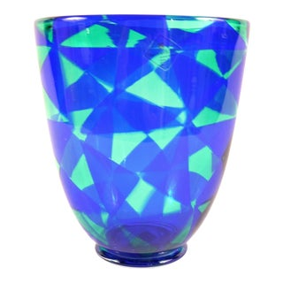 Barovier & Toso Blue Mosaic Triangle Murano Venezia Glass Vase For Sale