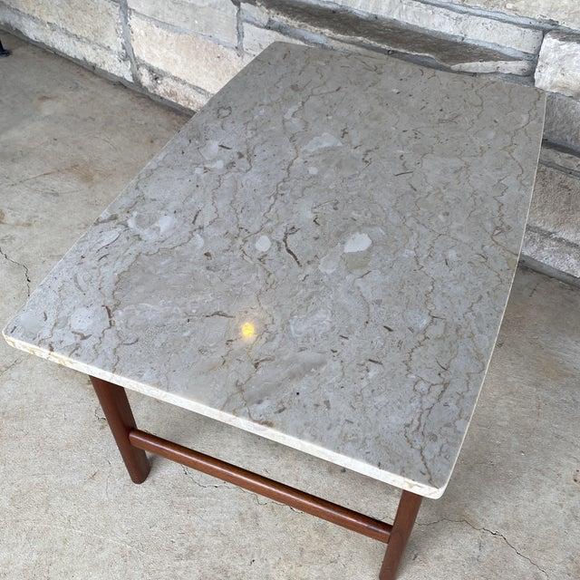 DUX 1950s Danish Modern Dux Folke Ohlsson Travertine Top Tables - a Pair For Sale - Image 4 of 12