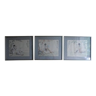 Chinese Paintings on Silk of Tang Dynasty Beauties - Set of 3 For Sale