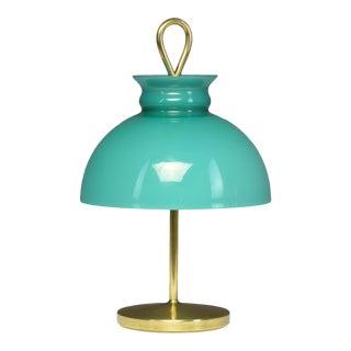 1950's Mid-Century Ignazio Gardella Turquoise Brass Table Lamp For Sale