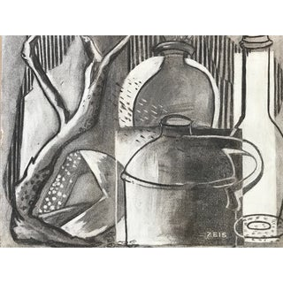 1930s Charcoal Still Life For Sale