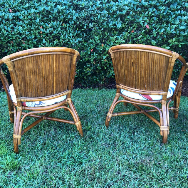 Carleton Varney Fabric Upholstered Bamboo Arm Chairs - a Pair For Sale - Image 9 of 12