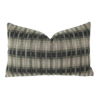 "S. Harris Rocket Stripe in the Colorway Platinum Lumbar Pillow Cover - 12"" X 19"" For Sale"