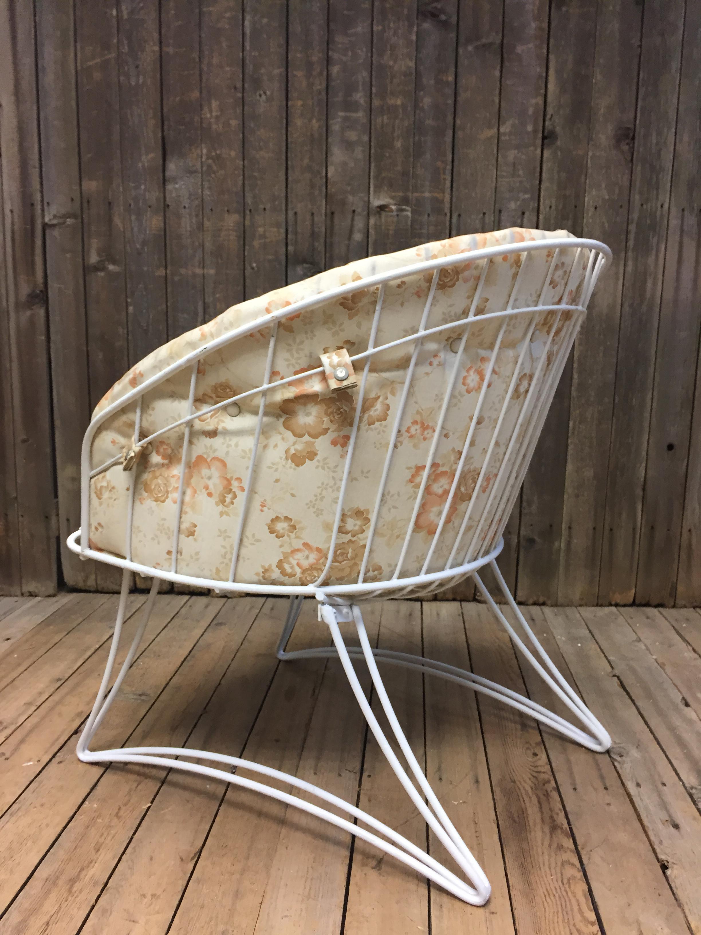 Mid Century Modern White Homecrest Metal Patio Chair