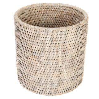 Artifacts Rattan Round Wastebasket For Sale