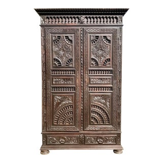 19th Century French Carved Chestnut Armoire From Brittany For Sale