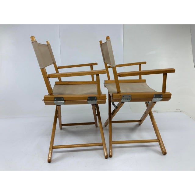(2) Wooden Folding Director Chair Set. Solid wood with beige canvas seat and back rest. Easy to use design. Can hold adult...